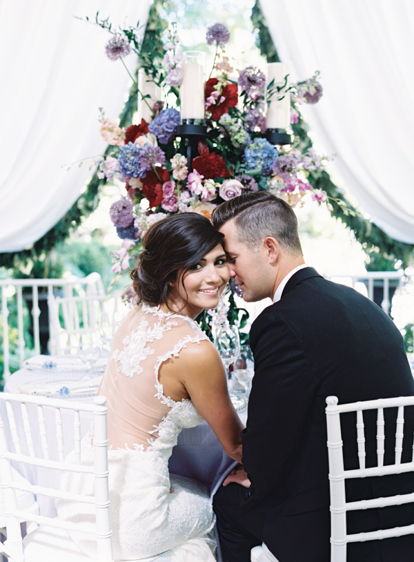 bride and groom - photo by Austin Gros http://ruffledblog.com/berry-toned-garden-wedding-splendor