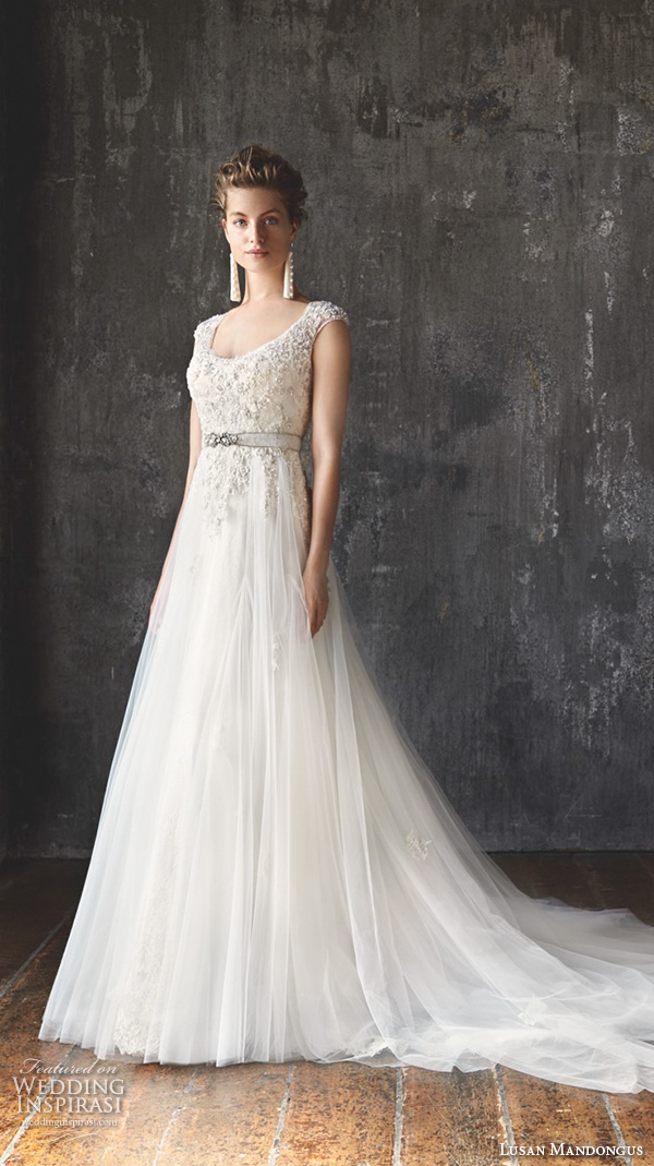 lusan mandongus 2016 wedding dresses cap sleeves scoop neckline beaded embroidered bodice tulle skirt beautiful a line gown mira