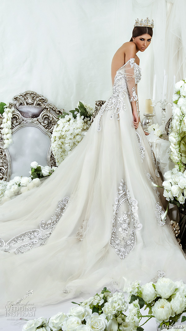 dar sara bridal 2016 wedding dresses beautiful strapless elegant beaded crystal embroidery open low back ball gown