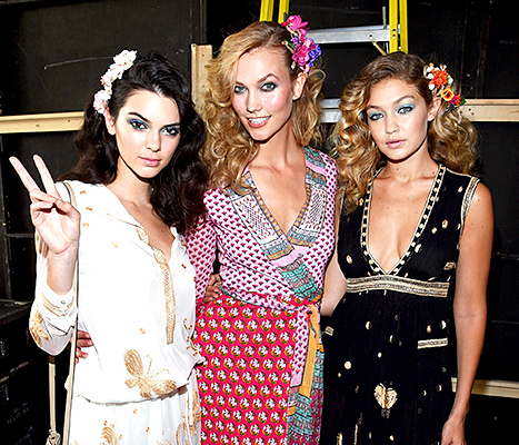 Kendall Jenner, Karlie Kloss, and Gigi Hadid attend Diane Von Furstenberg Spring 2016 fashion show during New York Fashion Week at Spring Studios on September 13, 2015 in New York City.