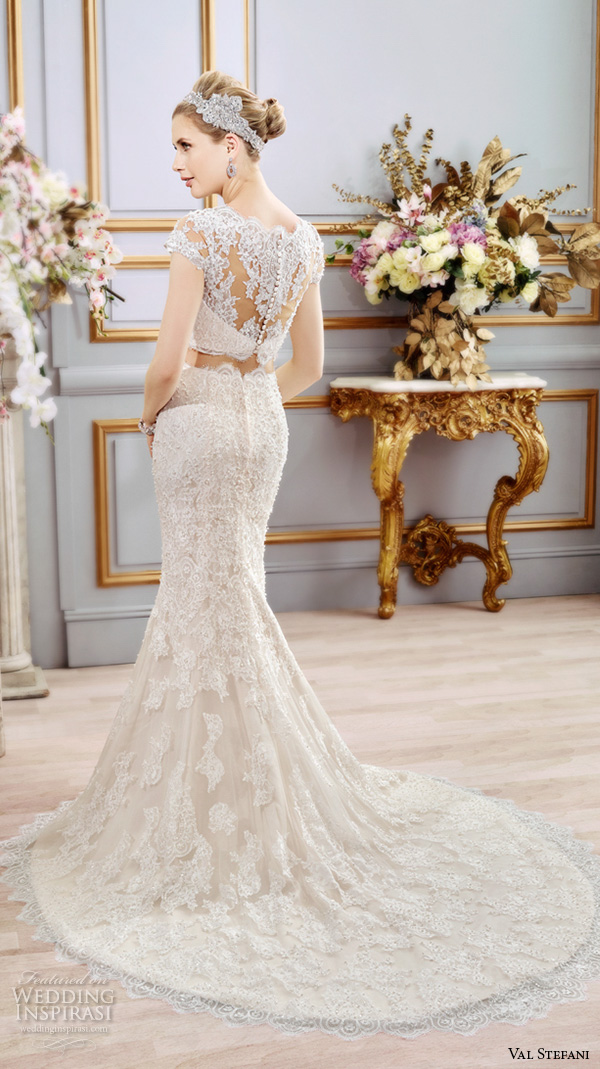 val stefani spring 2016 wedding dresses beautiful 2 piece fit flare trumpet mermaid gown boat neckline cap sleeves lace embroidery d8102 back