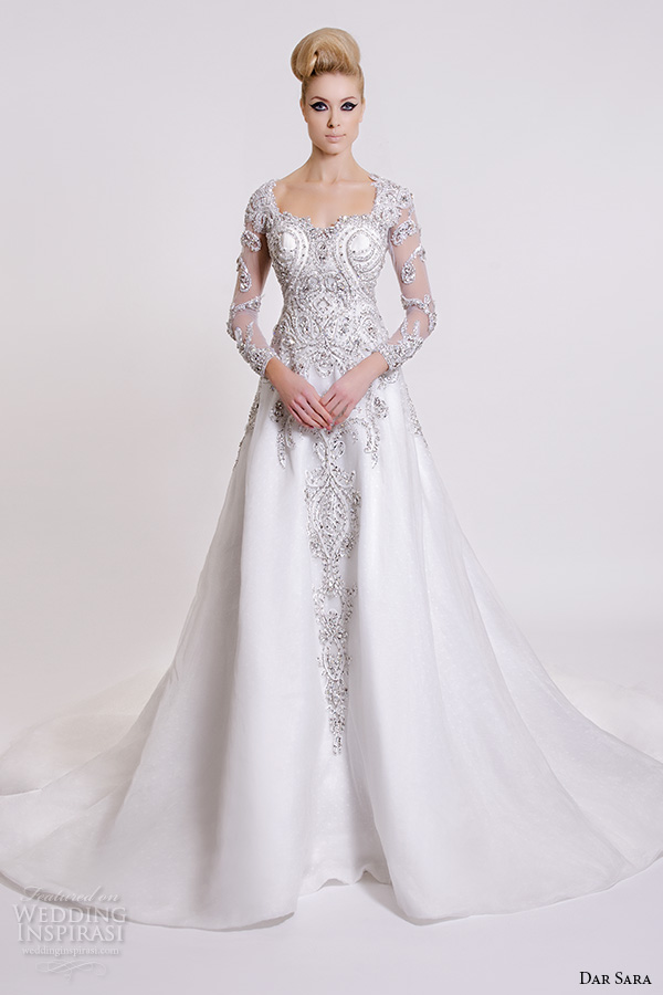 dar sara bridal 2016 wedding dresses gorgeous a line gown embellished sheer long sleeves beaded bodice