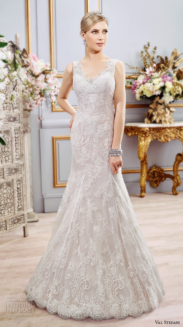 val stefani spring 2016 wedding dresses fit flare trumpet beautiful mermaid gown thick lace strap v neckline d8104