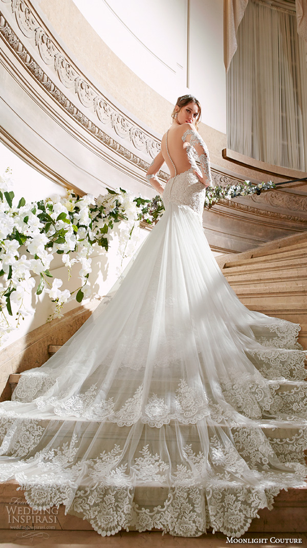 moonlight couture spring 2016 wedding dresses gorgeous mermaid gown off the shoulder long sleeves scallop neckline lace embroidery chapel train h1299 back