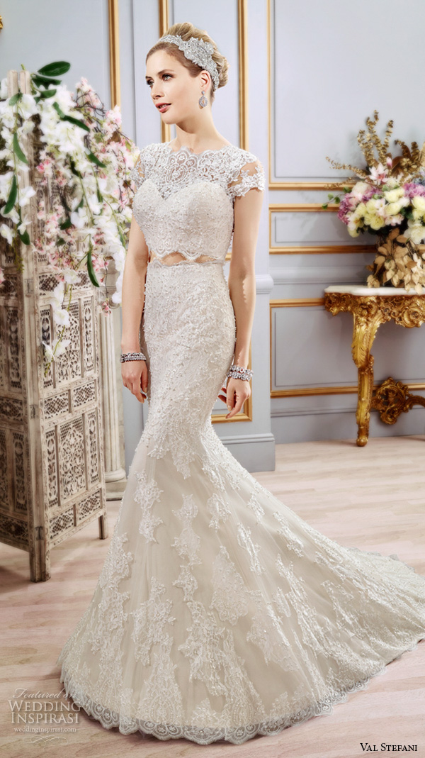 val stefani spring 2016 wedding dresses beautiful 2 piece fit flare trumpet mermaid gown boat neckline cap sleeves lace embroidery d8102