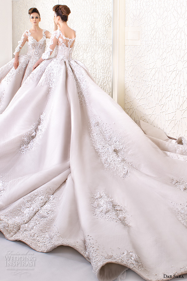 dar sara bridal 2016 wedding dresses stunning ball gown embroidered floral 3 4 quarter sleeves v neckline corset bodice