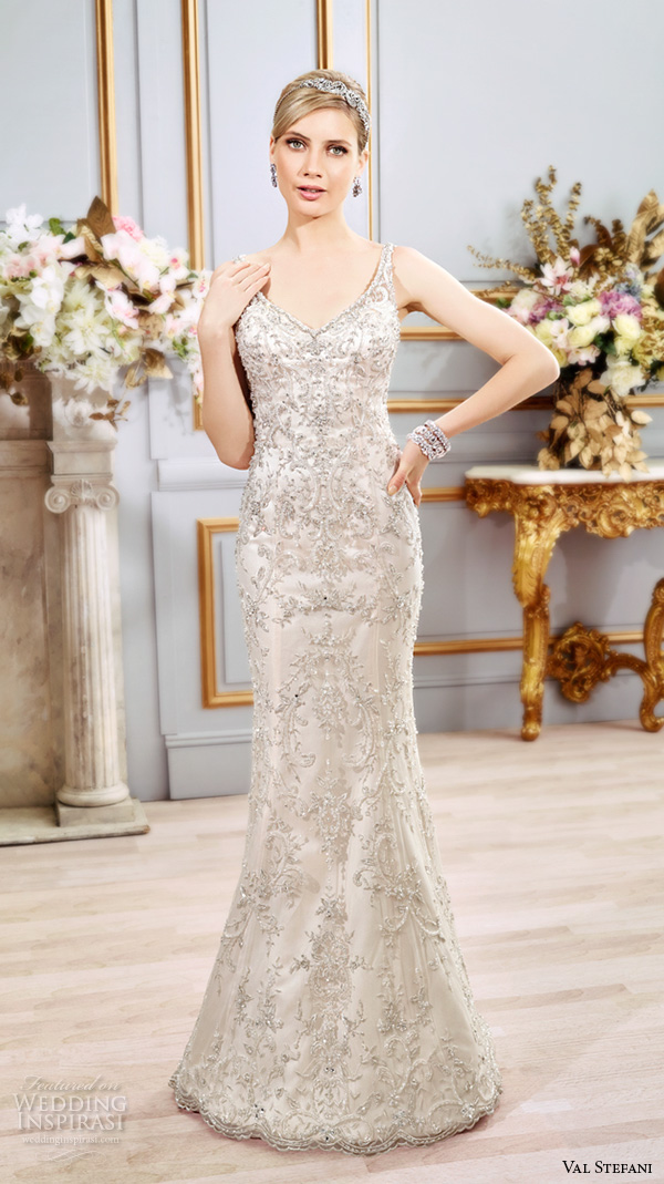 val stefani spring 2016 wedding dresses fit flare beautiful sheath gown v neckline sleeveless with strap beaded embroidered satin b8108