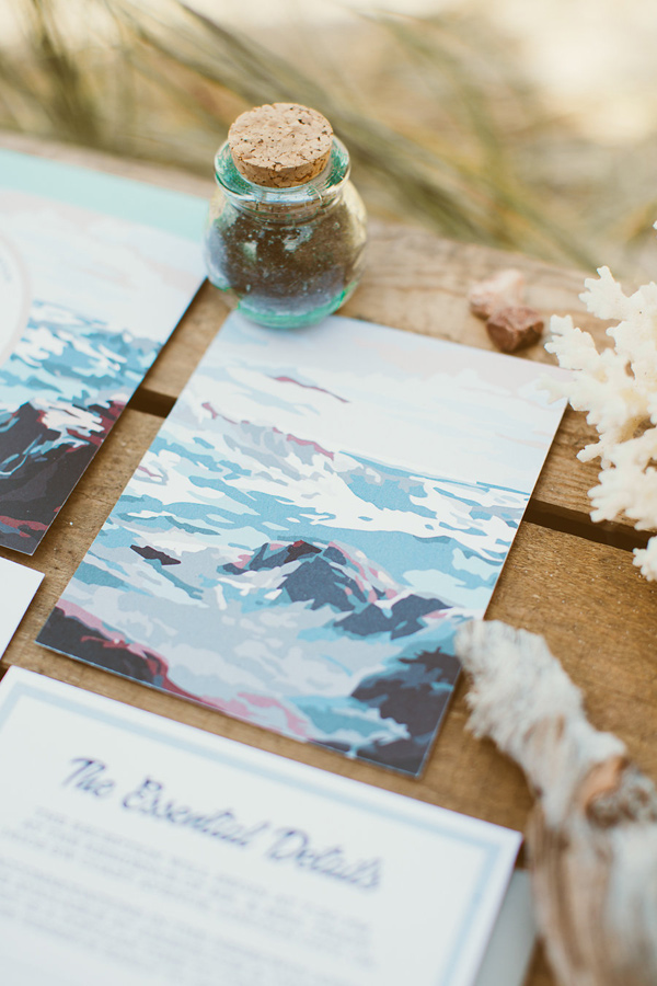 beach wedding invitation - photo by Hazelwood Photo http://ruffledblog.com/lincoln-city-beach-wedding-editorial
