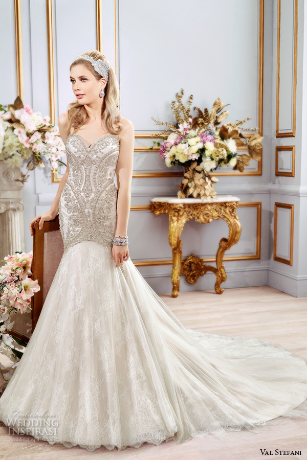 val stefani spring 2016 wedding dresses fit flare stunning mermaid gown strapless sweetheart neckline beaded embroidered bodice chapel train b8106