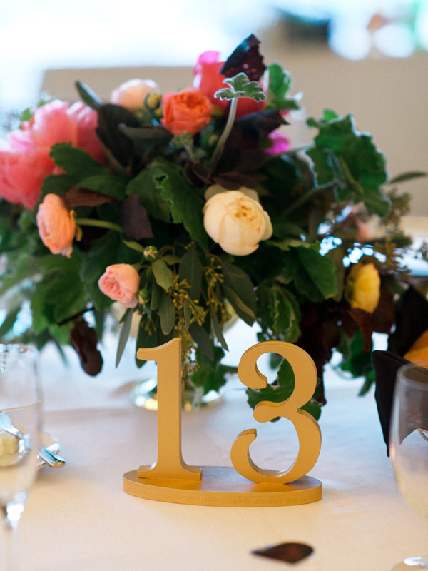 gold table number - photo by Elisa Bricker http://ruffledblog.com/southern-keswick-vineyards-wedding