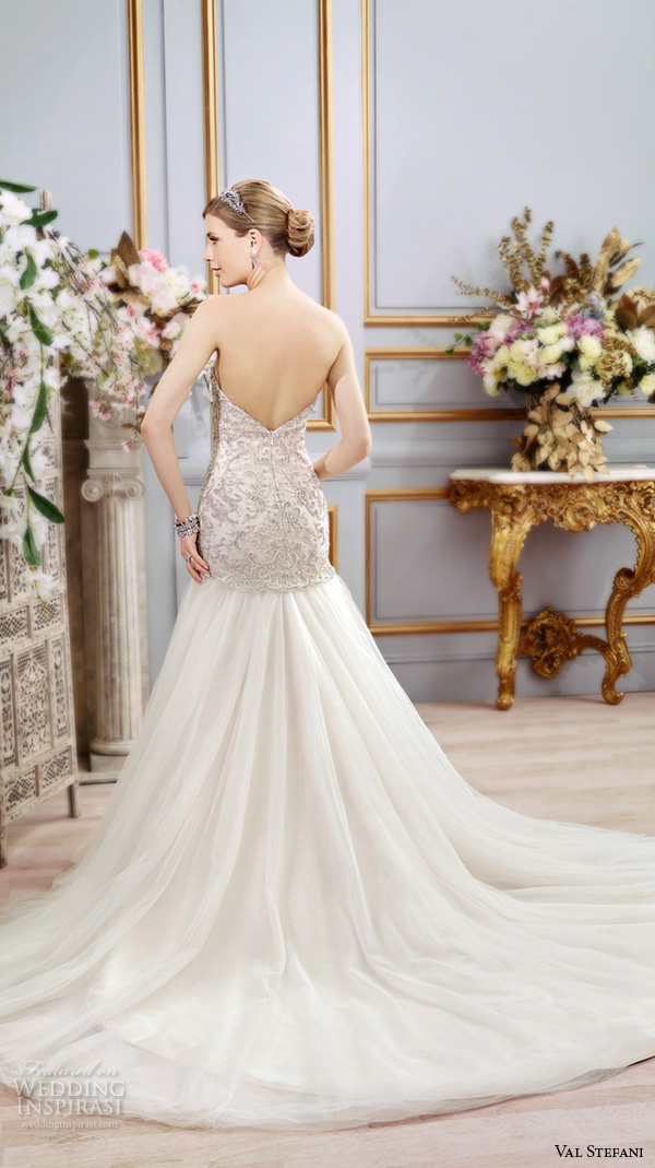 val stefani spring 2016 wedding dresses drop waist trumpet embroidered modified a line tulle skirt gown strapless sweetheart neckline d8103 back