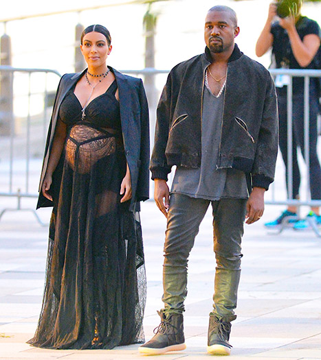 Kim Kardashian and Kanye West at the Givenchy SS2016 NYFW show on Friday, Sept. 11.