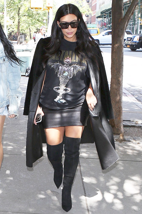 Pregnant Kim Kardashian rocking a leather mini skirt while out in New York City on Friday, Sept. 11.