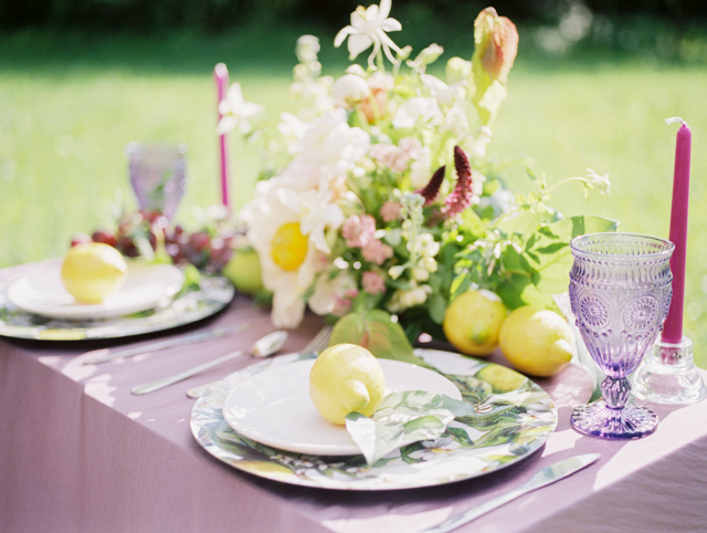 Pale yellow and lavender wedding tablescape | Olga Siyanko | see more on: http://burnettsboards.com/2015/09/lilac-lemon/