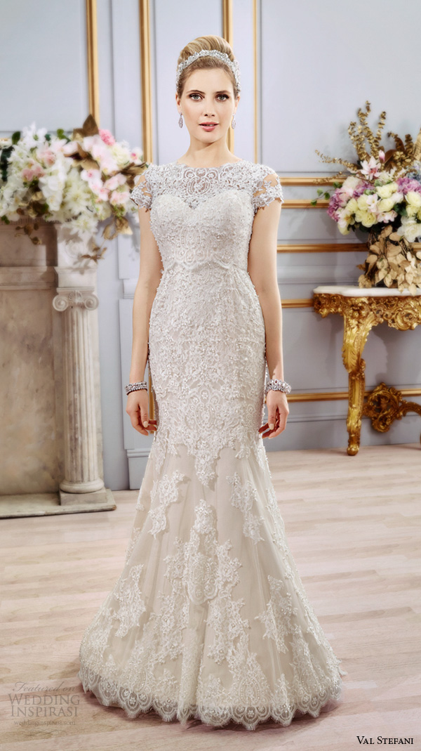 val stefani spring 2016 wedding dresses beautiful fit flare trumpet mermaid gown boat neckline cap sleeves lace embroidery d8102