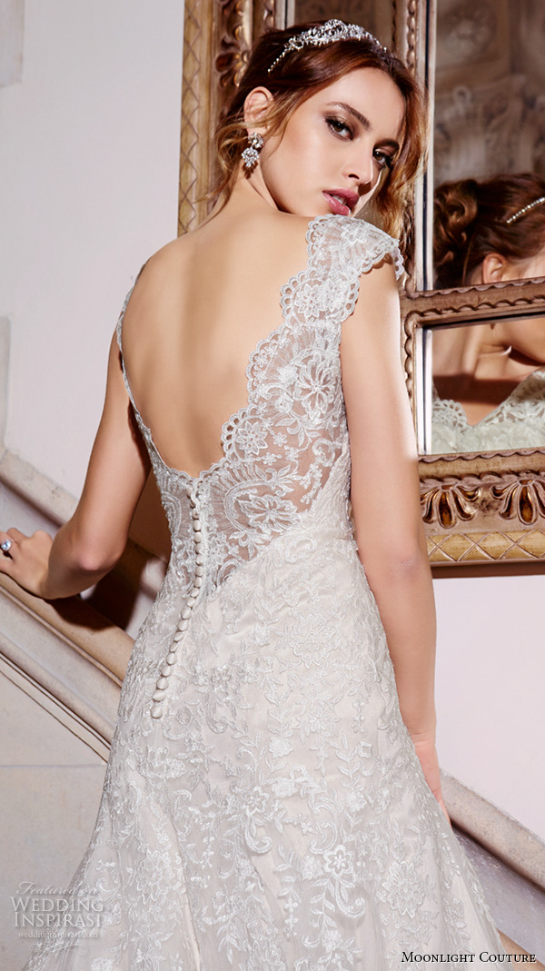 moonlight couture spring 2016 wedding dresses cap sleeves sweetheart scallop neckline embroidered trumpet fit flare pretty mermaid gown h1293 back closeup