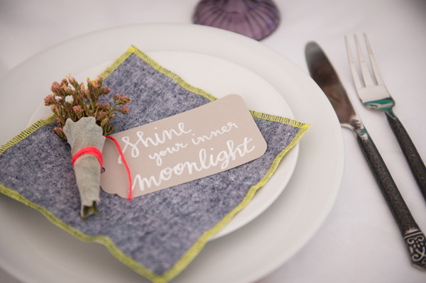 place setting - photo by Leise Jones Photography http://ruffledblog.com/herbes-de-provence-wedding-inspiration