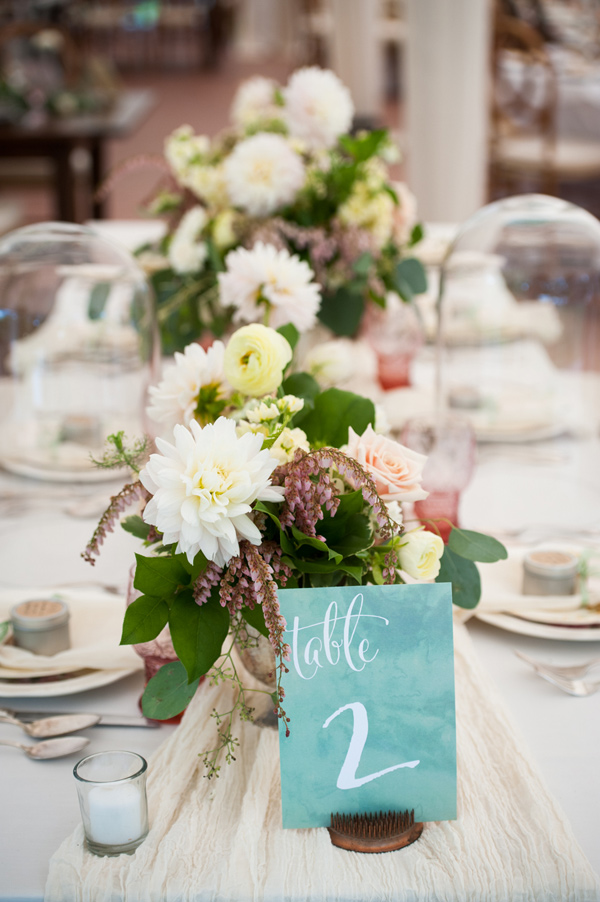 watercolor table number - photo by Leise Jones Photography http://ruffledblog.com/herbes-de-provence-wedding-inspiration