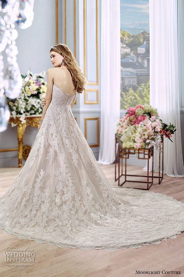 moonlight couture spring 2016 wedding dresses stunning a line gown strapless sweetheart neckline lace emrbroidered chapel train h1296 back