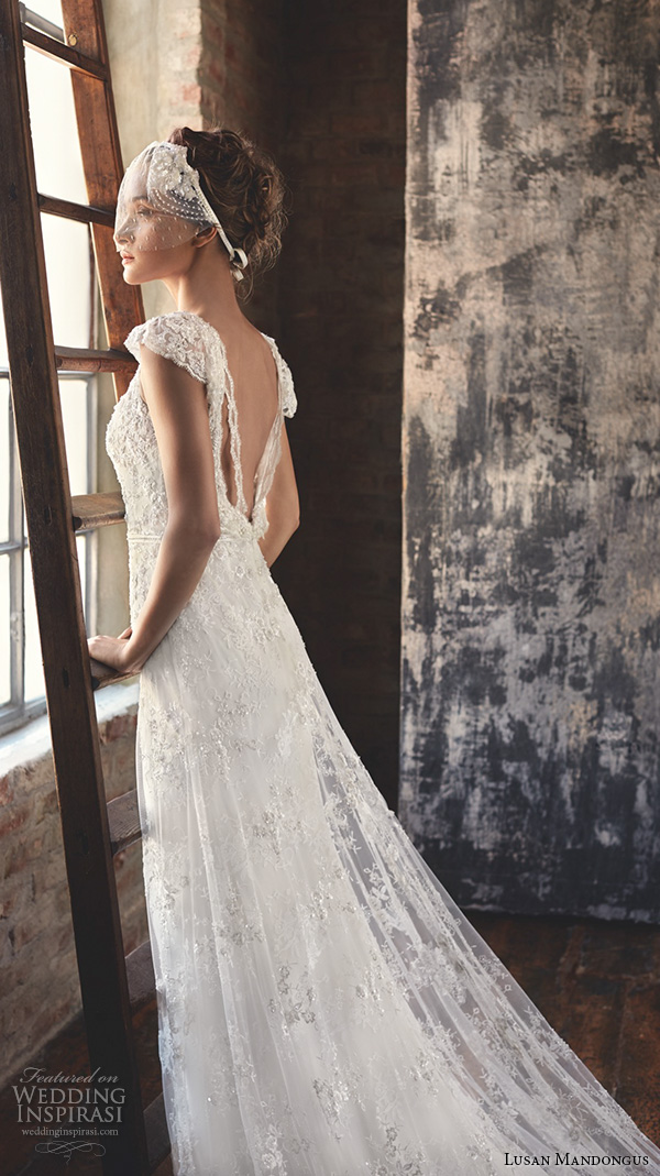 lusan mandongus 2016 wedding dresses cap sleeves open low back embroidered beautiful sheath gown regulus