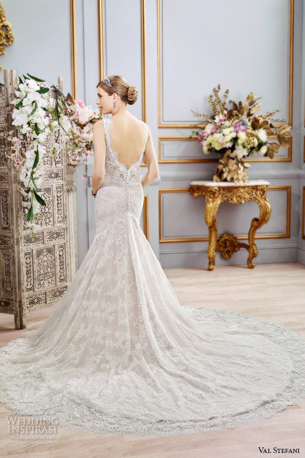 val stefani spring 2016 wedding dresses fit flare trumpet beautiful mermaid gown thick lace strap v neckline chapel train low back d8104