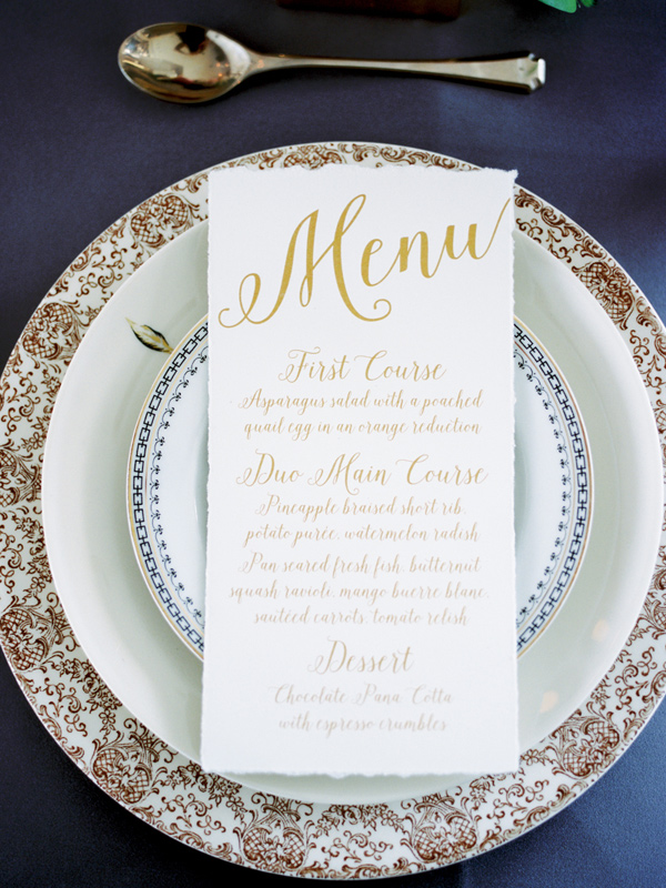 gold and ivory menu - photo by Ashley Kelemen http://ruffledblog.com/organic-sophistication-in-venice-beach