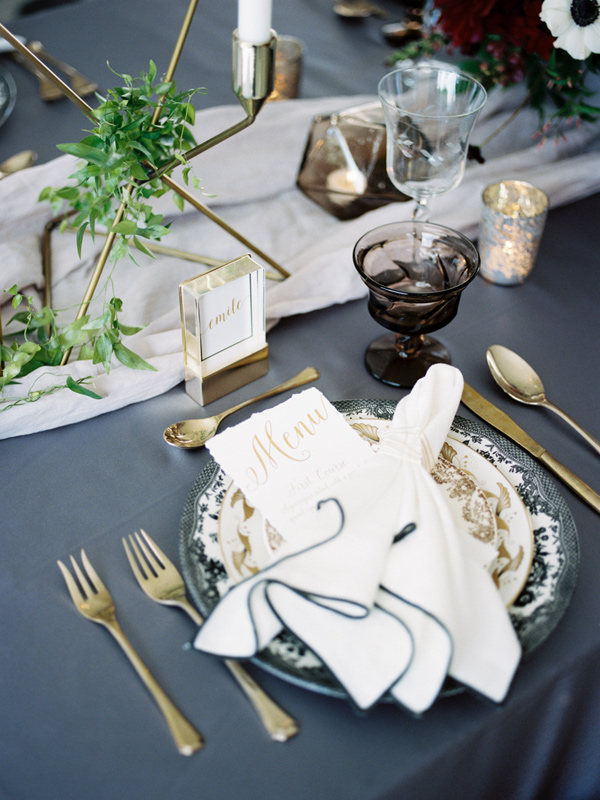 slate blue tablescape - photo by Ashley Kelemen http://ruffledblog.com/organic-sophistication-in-venice-beach