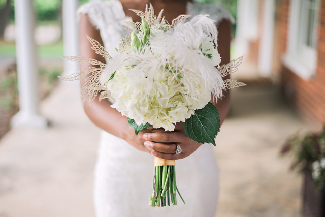 Hydrangea bridal bouquet with feathers | Sarah Hooker Photography | see more on: http://burnettsboards.com/2015/09/art-deco-wedding-asheville/