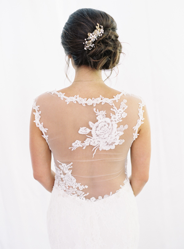 lace wedding dress detail - photo by Austin Gros http://ruffledblog.com/berry-toned-garden-wedding-splendor