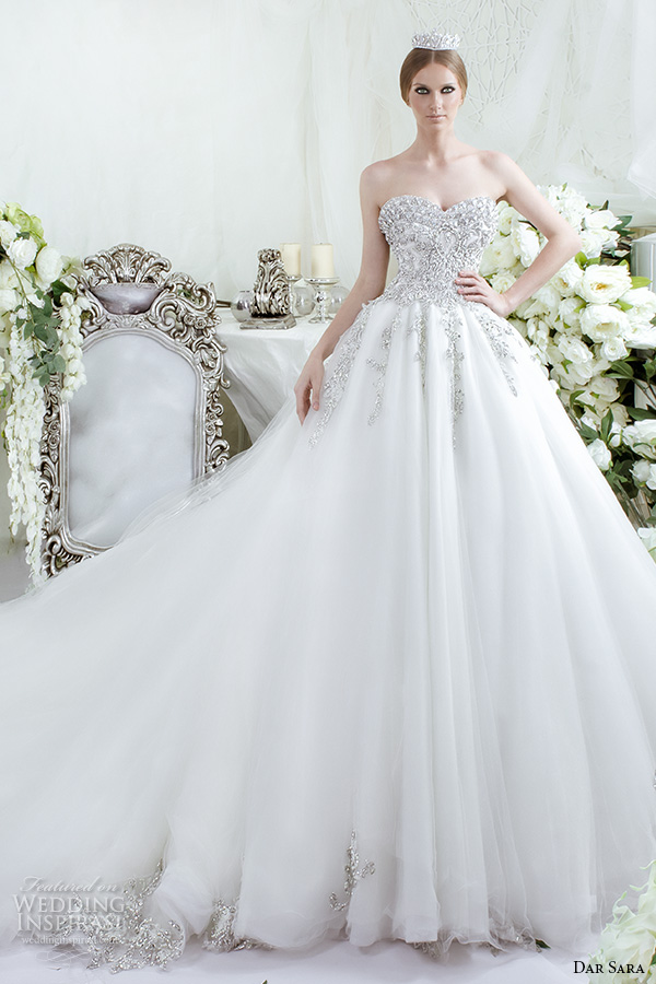 dar sara bridal 2016 wedding dresses beautiful a line ball gown strapless sweetheart neckline jeweled beaded embellished bodice tulle skirt