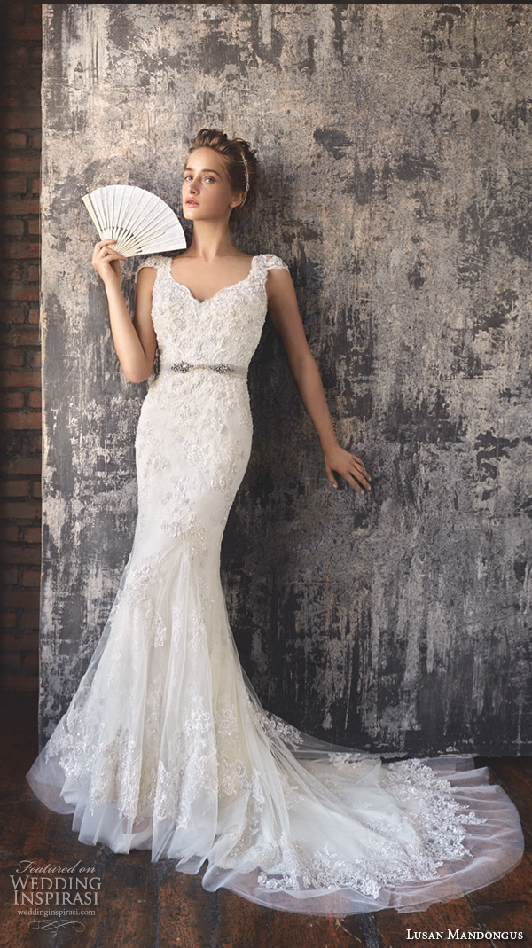lusan mandongus 2016 wedding dresses cap sleeves scallop v neckline beaded embroidered slim fit flare pretty mermaid gown menkent