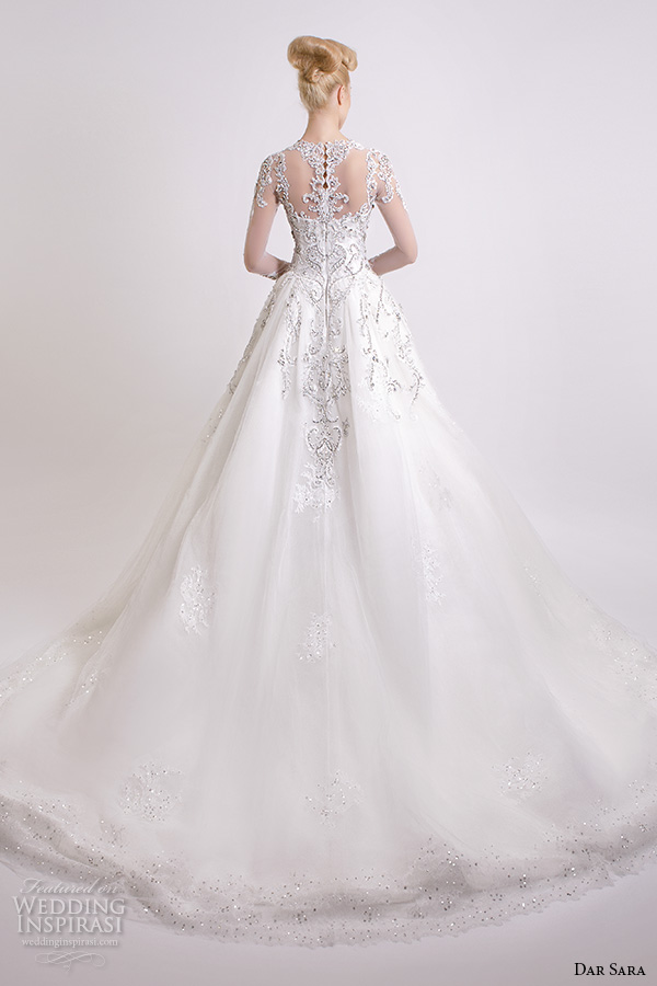 dar sara bridal 2016 wedding dresses beautiful a line ball gown scoop neckline sheer long sleeves embroidered beaded embellishment back view