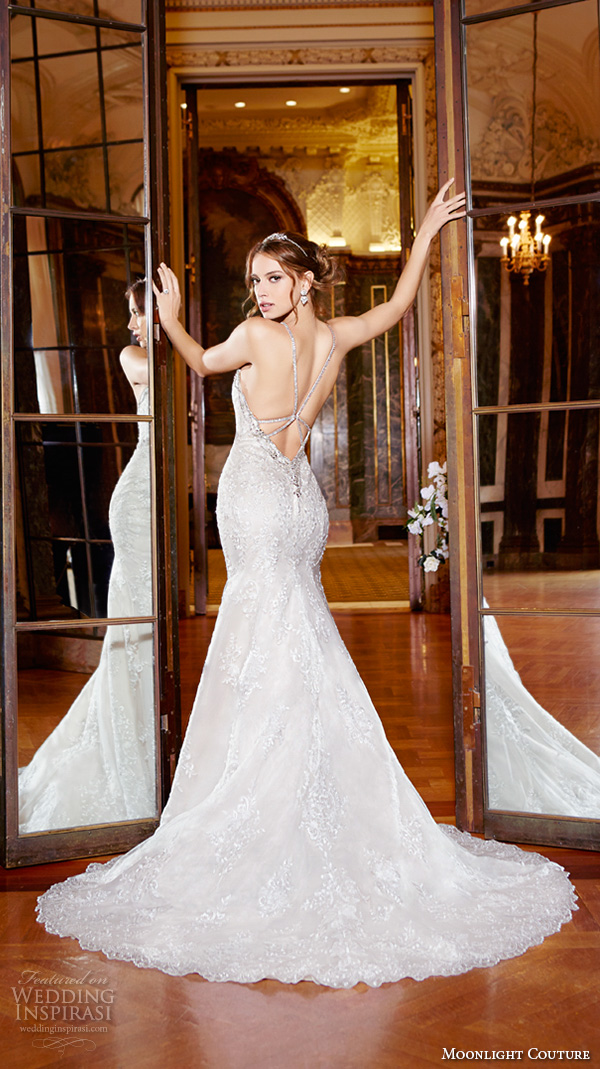 moonlight couture spring 2016 wedding dresses spagetti strap sweetheart neckline beaded embroidery fit flare trumpet beautiful mermaid gown h1292 back