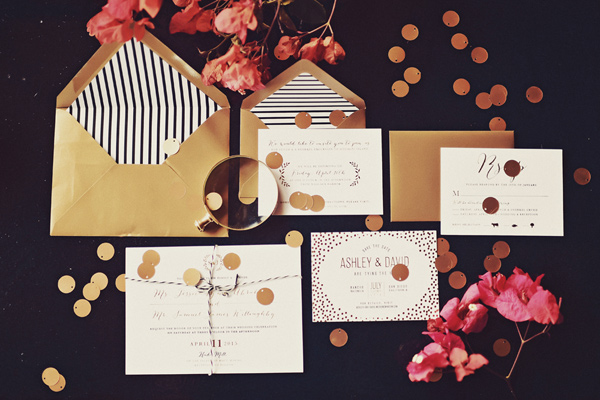 modern wedding invitations - photo by Tamiz Photography http://ruffledblog.com/inspired-by-color-wedding-ideas