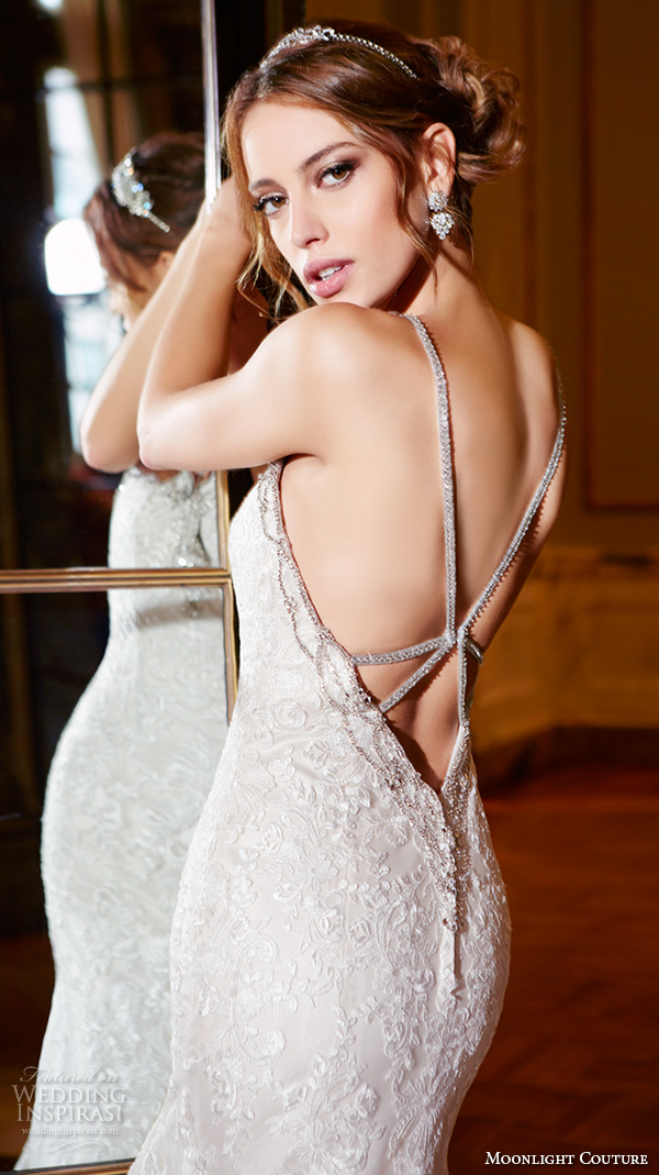 moonlight couture spring 2016 wedding dresses spagetti strap sweetheart neckline beaded embroidery fit flare trumpet beautiful mermaid gown h1292 back closeup