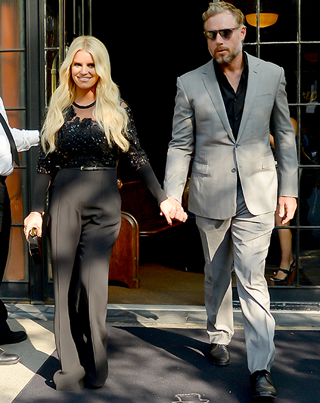 Jessica Simpson and Eric Johnson are seen walking in Soho on Sept. 8.