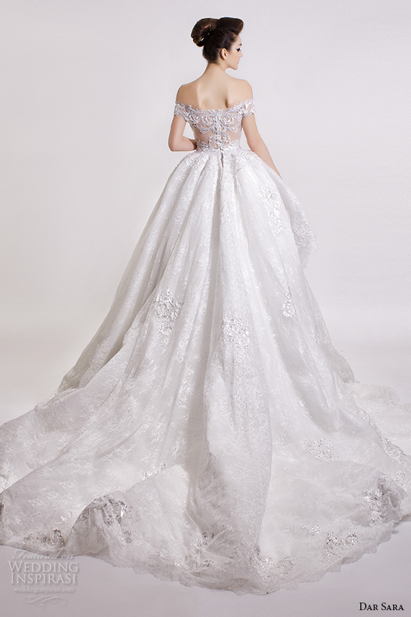 dar sara bridal 2016 wedding dresses gorgeous ball gown off the shoulder semi sweetheart neckline embroidered bodice back view
