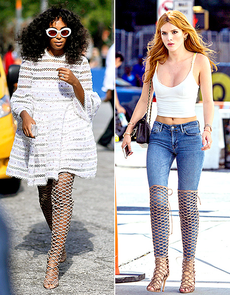 Solange Knowles and Bella Thorne stepped out in NYC this past week rocking the same caged, over-the-knee boots styled very differently; see the photos and vote for your fave in the poll!