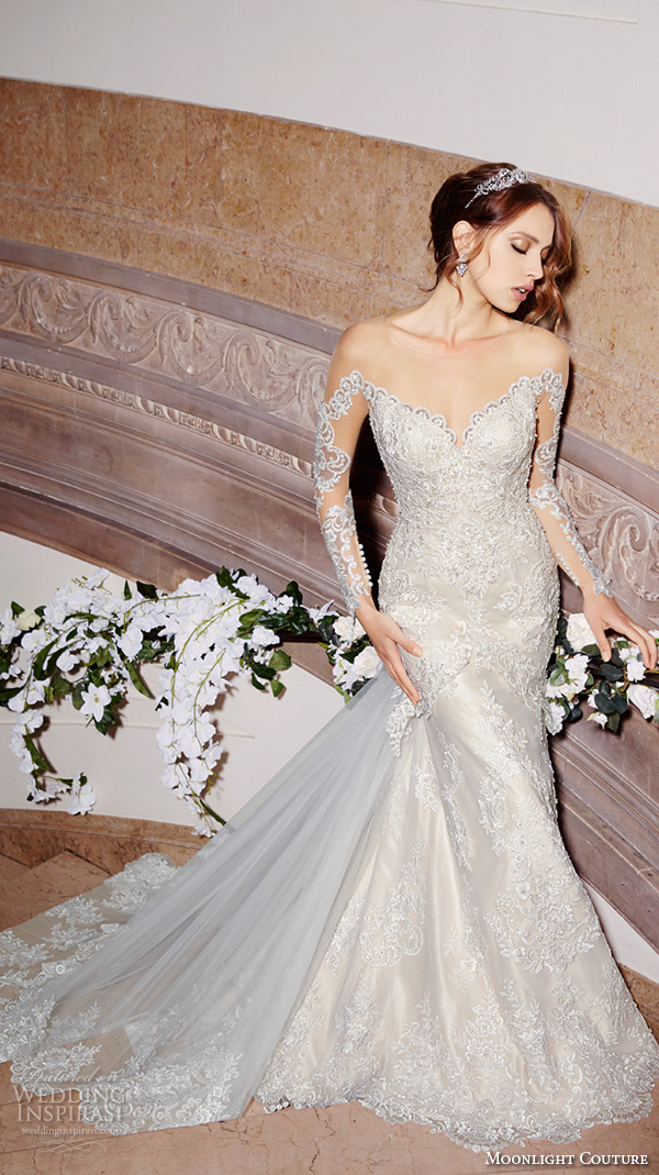 moonlight couture spring 2016 wedding dresses gorgeous mermaid gown off the shoulder long sleeves scallop neckline lace embroidery chapel train h1299