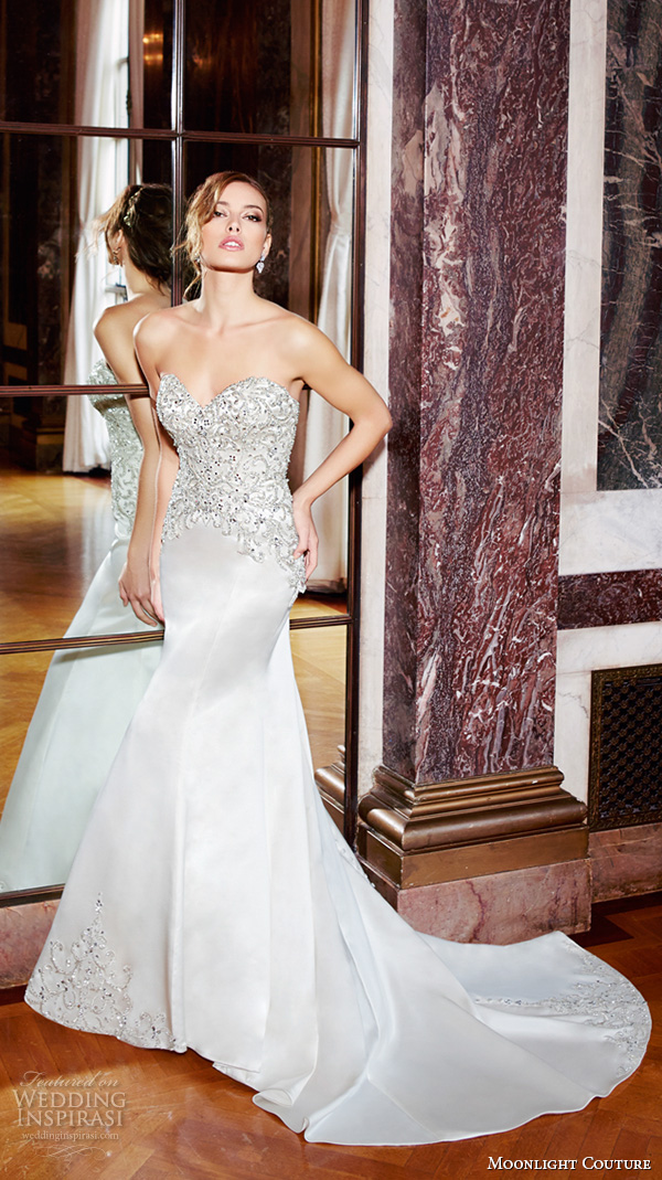 moonlight couture spring 2016 wedding dresses strapless sweetheart neckline filigree beaded embroidery fit flare trumpet elegant mermaid gown h1295