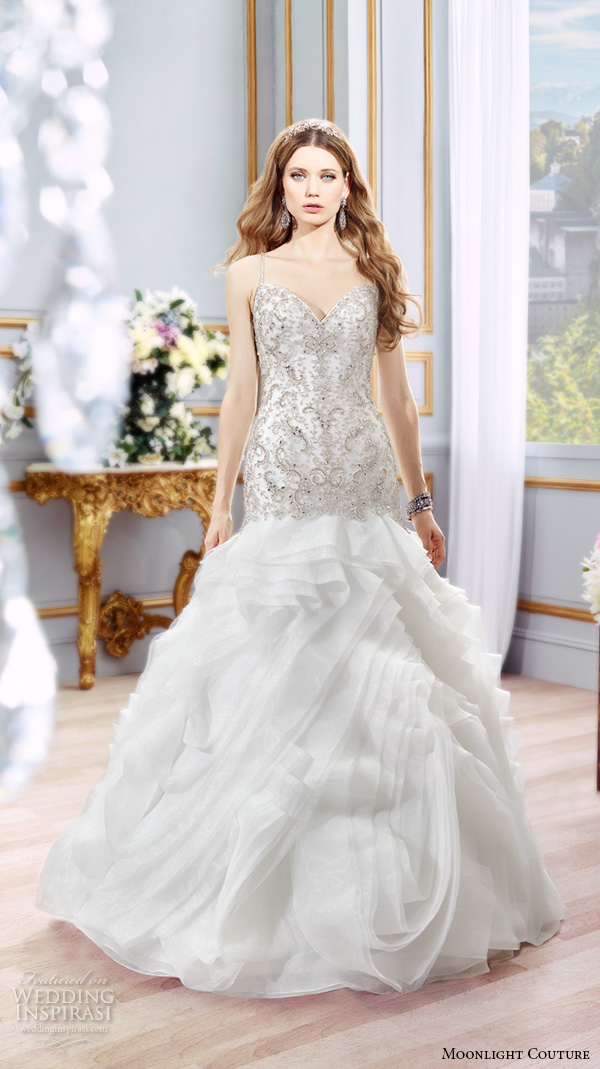 moonlight couture spring 2016 wedding dresses beautiful mermaid gown fit flare trumpet spagetti strap sweetheart neckline beaded embroidery h1298