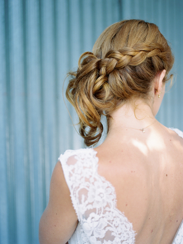braided wedding hair - photo by Ashley Kelemen http://ruffledblog.com/organic-sophistication-in-venice-beach