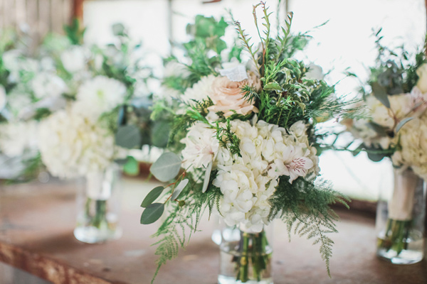 hydrangea flowers - photo by Brandi Smyth http://ruffledblog.com/industrial-wedding-in-shreveport