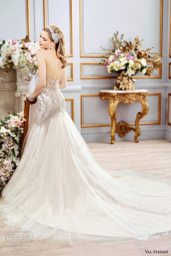 val stefani spring 2016 wedding dresses fit flare stunning mermaid gown strapless sweetheart neckline beaded embroidered bodice chapel train b8106 back view