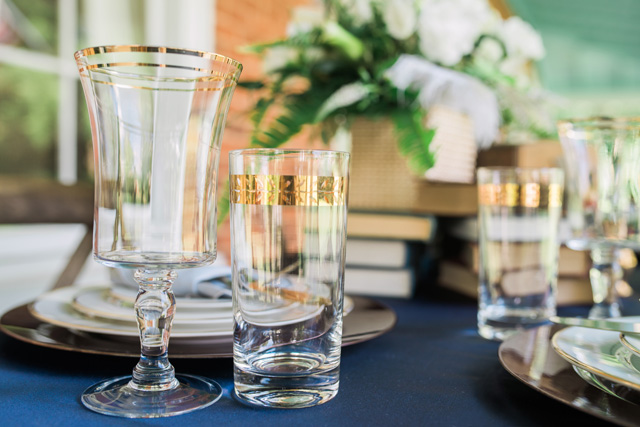 Gold rimmed glassware | Sarah Hooker Photography | see more on: http://burnettsboards.com/2015/09/art-deco-wedding-asheville/