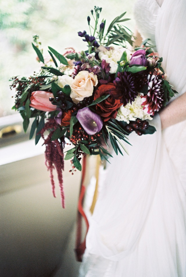 Marsala and purple bridal bouquet ⎪Jonathan Kohn⎪see more on: http://burnettsboards.com/2015/09/demure-southern-wedding-home/