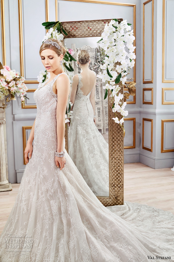 val stefani spring 2016 wedding dresses fit flare trumpet beautiful mermaid gown thick lace strap v neckline chapel train low back d8104 side