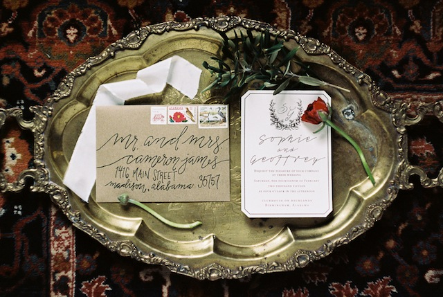 Calligraphy wedding invitation ⎪Jonathan Kohn⎪see more on: http://burnettsboards.com/2015/09/demure-southern-wedding-home/