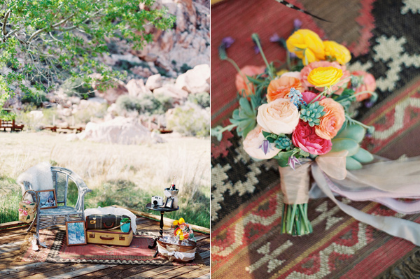colorful bouquet - photo by Gaby J Photography http://ruffledblog.com/stylish-las-vegas-desert-wedding