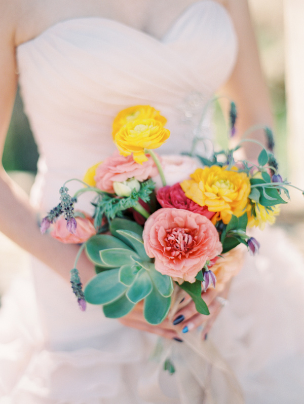bright bouquet with succulents - photo by Gaby J Photography http://ruffledblog.com/stylish-las-vegas-desert-wedding